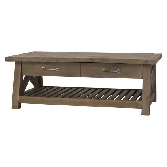 Table basse plat.rel.Ironside -gris rus.