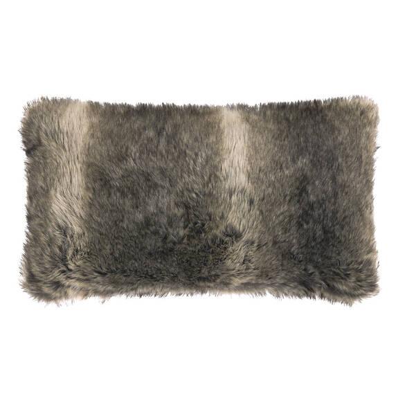 Coussin f.fourrure Fauna 12x22 loup gris