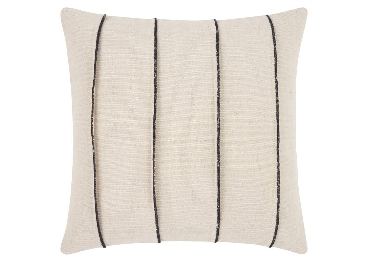 Coussin Furrow 20x20 ivoire/noir