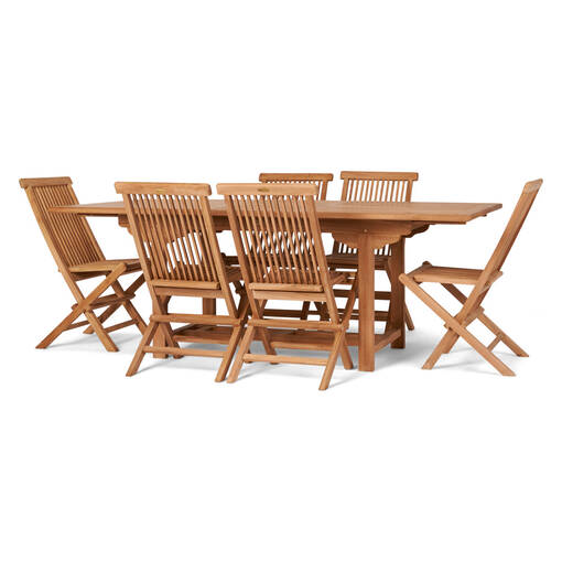 Table rall. 4 chaises Sumatra -teck nat.