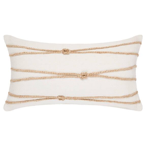 Coussin Knot 12x22 blanc/naturel